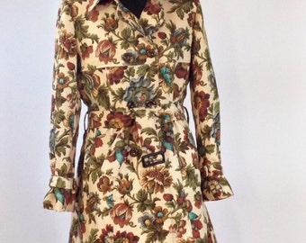 Tapestry print linen trench coat in a UK size 14