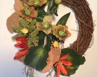 Modern Wreath- Contemporary Wreath- Spring Wreath- Summer Wreath- Door Wreath- Grapevine Wreath- Exotic Flower Wreath- Succulent Wreath