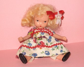 """1940s Nancy Ann Storybook Bisque Doll #113 """"Roses are Red, Violets are Blue"""" with Moveable Arms and Legs"""
