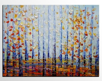 Birch Tree, Landscape Painting, Abstract Painting, Canvas Art, Oil Painting, Wall Art, Abstract Art, Canvas Art, Canvas Painting, Large Art