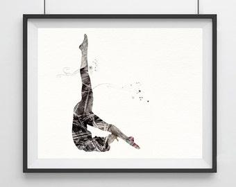 Watercolor Yoga Art Print - black and white - Yoga Art Print - zen