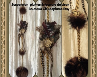 Suspension fur mink & feathers