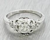 1920s Antique Art Deco 18k White Gold .48ctw G VS2 Diamond Engagement Ring MSRP 2440