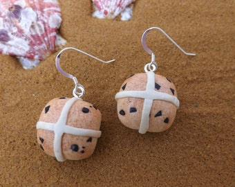 Hot cross bun earrings, with sterling silver ear wires, ideal for Easter fun!