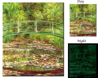 Glow in the Dark Canvas Wall Art - Claude Monet, Bridge over a Pond of Water Lilies - Ready to Hang