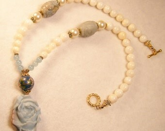 Blue Flower Pendant Necklace w Amazonite Pearl Coisonne and Mother of Pearl Beads