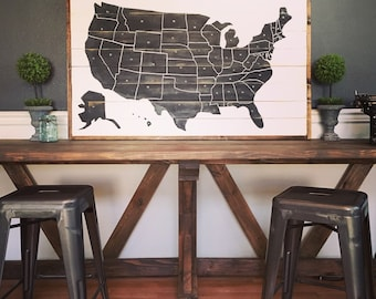 Giant US wall map, rustic, farmhouse industrial, distressed