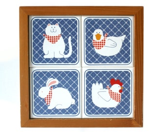 Blue tile trivet ceramic trivet hot plate country tableware farm animals chicken duck cat rabbit