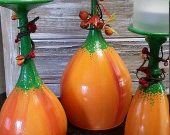 Set of 3 Pumpkin Wine Candles/Thanksgiving/Fall/decor/decoration/wine lover/centerpiece/mantle