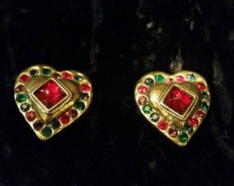 Vintage Les Bernard Earrings Heart Shape Multicoloured jewelled Clip On