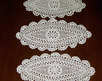 Vintage Small Oval Crocheted Doilies, Set Of 3