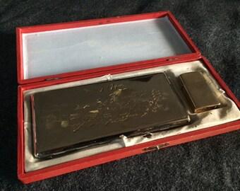 Vintage Memory of Japan cigarette case and lighter rare