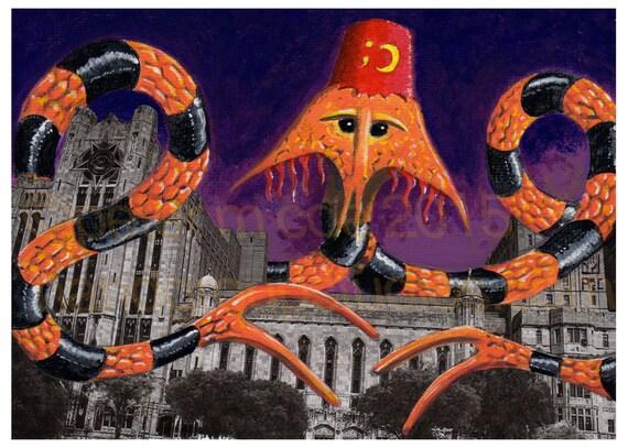 "Detroit Kaiju Theatre Bizarre Snake Monster 5x7 Print ""Kimyonagor at the Temple"" Original Art by Pete Coe Masonic Temple"