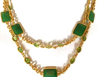 "Long Gemstones Opera Necklace, Emerald and Peridot Gemstones Necklace, Multi Gemstones Silver Necklace (92cm - 36""), 18k yellow gold plated"