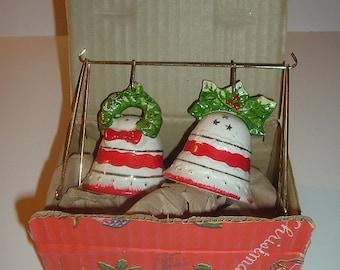 Vintage Ceramic Christmas Bells Salt and Pepper Shakers in Original Box