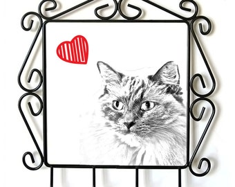 Ragdoll- clothes hanger with an image of a cat. Collection. Cat with heart.