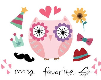 super cute owl illustration card / cute illustration / owl illustration /postcard/card set