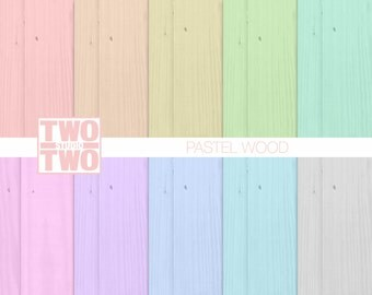 Pastel Wood Digital Paper: Orange, Yellow, Green, Pink, Purple, Gray, Aqua and Blue Wood Textures, Spring or Easter Backgrounds