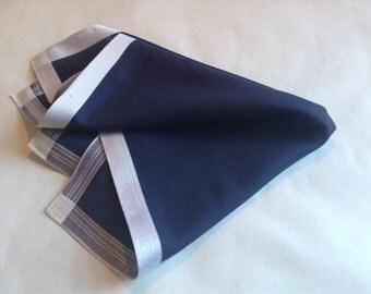 Daks pocket square handkerchief dark blue cotton