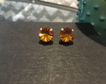SALE! Vintage Sunflower Swarovski Crystal Gold Studs