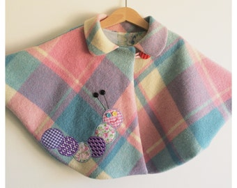 "Girls toddler baby cape coat ""Catie Caterpillar"" cape coat cloak"