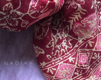 Sambal floral crepe silk scarf with tessels. Christmas gift
