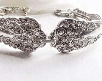 Silver Spoon bracelet, Vintage Spoon jewelry, Antique Spoon Bracelet, Silverware Bracelet, Antique  Silver Spoon Jewelery, Silver Bracelet