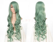 Ombre Green Curly Realiest Layered Woman Wig Sexy Cosplay Wig Anime Harajuku Wig Lolita Wig Long Wigs 80 cm