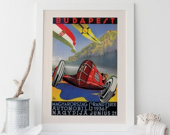 BUDAPEST GRAND PRIX Poster - 1936 Race Car Poster Ferrari Poster Classic Car Poster 1936 Grand Prix Print High Quality Wall Art