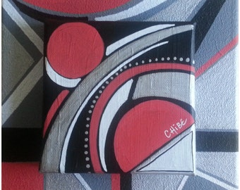 painting modern 3D acrylic on canvas red silver black volume