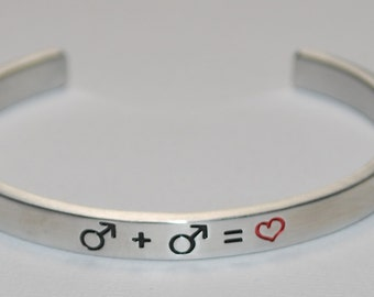 Gay Male + Gay Male = ( heart )  Symbols   |:| Engraved & Polished Bracelet ( not hand stamped )