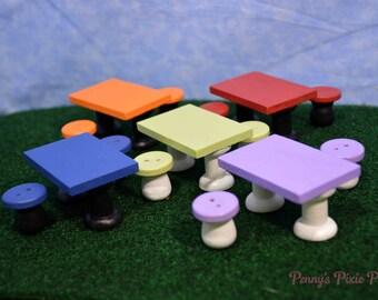 Miniature Patio table set, Fairy Garden Patio set, Dollhouse Patio Set, Miniature Garden Patio Furniture,Fairy Garden Accessorie