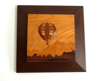 Exotic Wood Marquetry Inlay Hot Air Balloon Signed R J, Robert Johnson