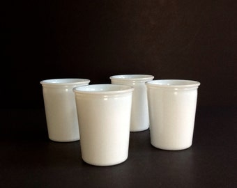 Mid Century Opaque Milk Glass Juice Glasses, Set of 4