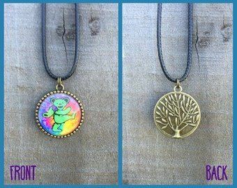 Grateful Dead Dancing Bear Necklace with Tree of Life Back