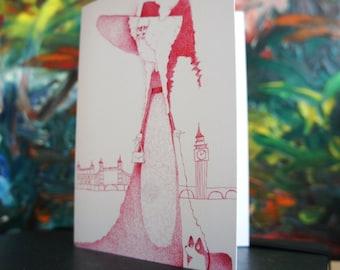 English lady in London with a corgi, original art blank card, stationary, greeting card