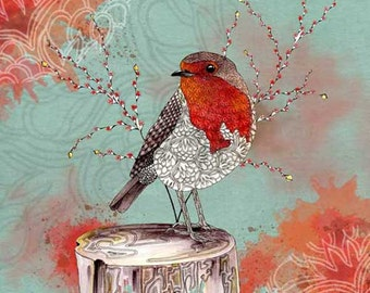 Bird wall art print, Red Robin, bird lover gift, watercolor print