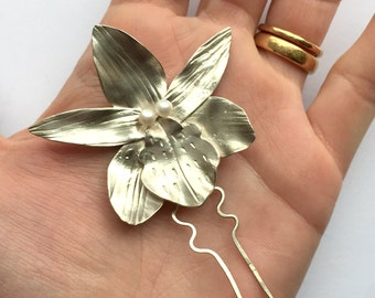 Handmade Silver and Pearl Orchid Flower Hairpin
