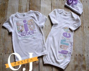 Big Sister -  Little Sister Personalized Baby Newborn Gift Set- Name Girl - Purple and Aqua Infant Gown - Sisters - Siblings