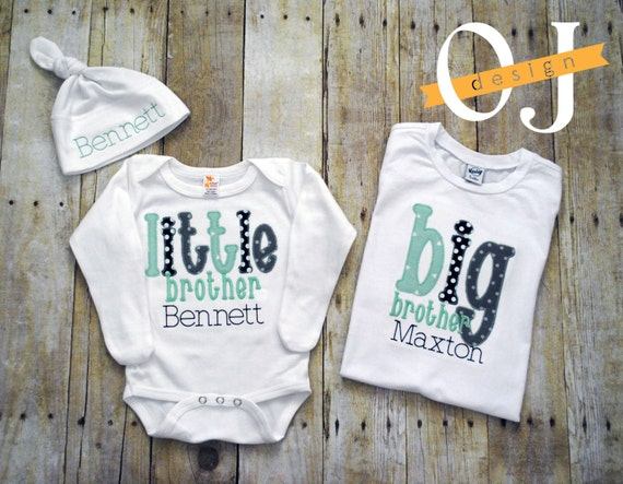Baby Gifts For Big Brother : Big brother little personalized baby boy newborn gift
