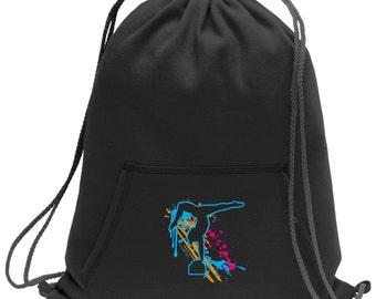 Sweatshirt material cinch bag with front pocket and splash screen print - Gymnastics - Black - Light Grey - Dark Grey - BG614