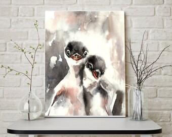 Penguins Print, Watercolor painting of Baby Penguins, watercolor print, nursery decor, brothers, wall art