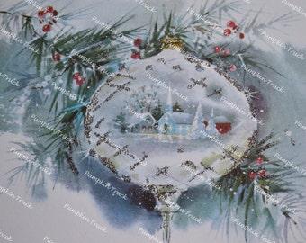 Vintage Christmas Card - Church Reflection in Ornament - Used Glitter
