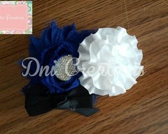 Royal and white chiffon Flower headband/hair clip