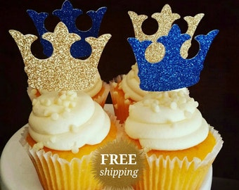 Prince Crown Cupcake Toppers Glitter Crown Toppers Gold Royal Blue Crown Toppers Prince Baby Shower Glitter Royal Prince Decorations