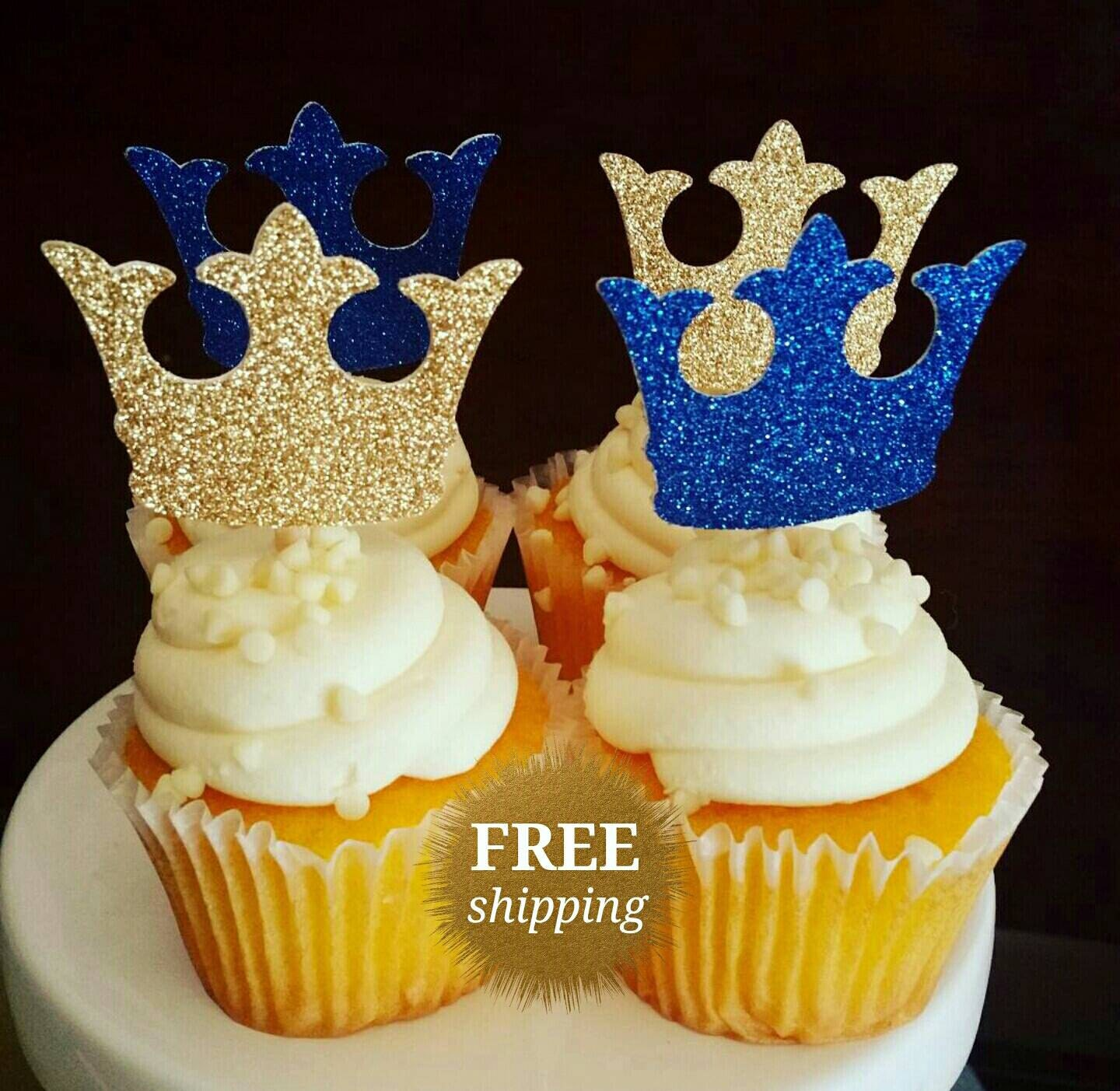 Prince Crown Cupcake Toppers Glitter Crown Toppers Gold Royal