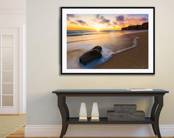 Large Beach Canvas Photo, California Ocean Sunset Wall Decor, San Francisco Coastal Print, Half Moon Bay Seascape, Pacific Ocean Fine Art