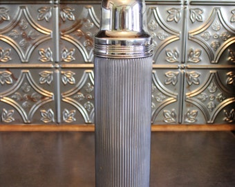 Antique Metal Thermos, Chrome Universal Thermos by Landers, Frary & Clark, Vertically Ribbed Chrome Thermos for Your Midcentury Cabinet
