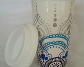 Hand Painted mandala style tall latte coffee mug on the go, delicate lace, Perfect gift for coffee lovers with a bright flare!