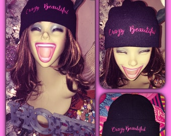 Crazy Beautiful Hot Pink lettered Black Beanie
